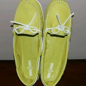 Minnetonka lime green moccasins leather